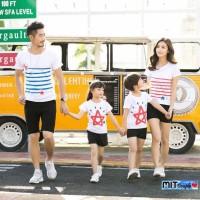 Baju Family Couple Kaos Pasangan Keluarga 2 Anak Bintang Salur 11093