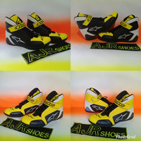 Sepatu drag alpinestar kuning hitam putih