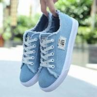 Sneakers Wanita / Sepatu Kets Jeans The Vans 011 - Biru Muda