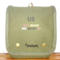 BWANA TAS SLEMPANG TRAVEL POUCH GAS MASK ARMY - KANVAS DAN KULIT ASLI