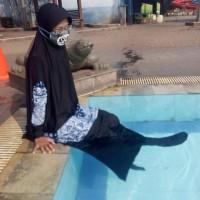 Baju Renang Muslimah Syari Big Size Jumbo Rok Panjang Belah Samping