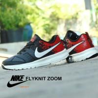 Sepatu Sport Nike Flyknit Zoom GRADE ORI - Hitam Merah - Kets Casual