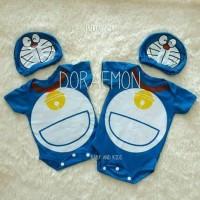 baju kostum bayi anak lucu Jumper Bayi Doraemon Topi Baju Jumpsuit Lu