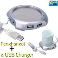 Alat Penghangat Kopi Teh Portable + 4 USB Port   Coffee Cup Warmer