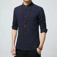 Baju Kemeja Ham Zyan Navy Pria Formal Casual Koko Lengan Panjang