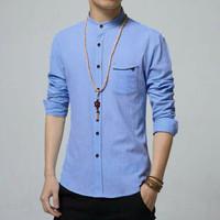 Baju Kemeja Ham Zyan Blue Biru Pria Formal Casual Koko Lengan Panjang
