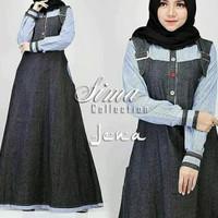 Overall gamis dress maxi maxy baju muslim overal busana pakaian korea