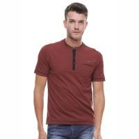 LGS - Regular Fit - Kaos Henley - Kantong Satu - Coklat - Maroon, S