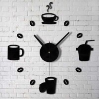 Jam Dinding Model Cangkir Kopi Kafe Dekorasi Giant Wall Clock 40-70cm
