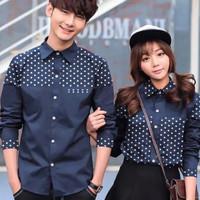 Baju couple pria wanita atasan kemeja hem shirt polkadot bluss