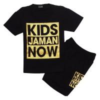 HM Baju Setelan Anak Kidz Jaman Now Sablon Silver dan Gold