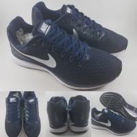 Sepatu Lari Nike Zoom Pegasus 34 Running Dark Navy Blue White Biru Tua