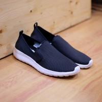 ORIGINAL Sepatu Adidas Neo Cloudfoam Lite Racer Slip On Black White