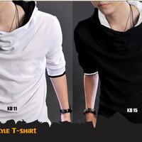 Baju Pria Kaos Korea Style T-Shirt (KD 11 White & KD 15 Black)