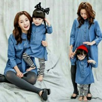 Baju Couple Anak Perempuan ibu Murah 2 Varian Warna Biru Orange