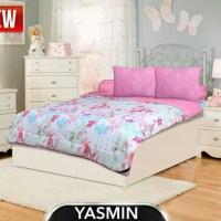 bedcover set my love ori 180x200 flat motif cantik warna pink soft