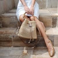 Straw Bucket Bag Bamboo Handle Tas Anyaman Jerami