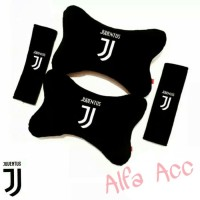 Bantal mobil Car set headrest 2 in 1 motif New Juventus