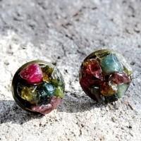 Anting Batu Tourmaline Rainbow Mulia Permata 13mm