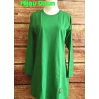 S-XL Kaos Polos Tunik Muslimah Panjang Hijau Daun/ Baju Olah raga