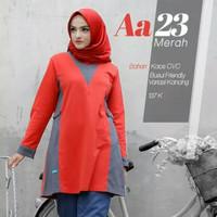 Blus Muslimah Kaos Atasan Alnita AA 23 Warna Merah Bahan Katun CVC