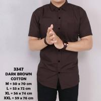 Baju Kemeja Lengan Pendek Casual Pria Coklat Polos Slimfit