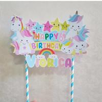 Unicorn Cake Topper Ulang Tahun 23x14cm Dekorasi Kue Ultah