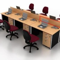 Meja Kerja Staff Kantor Utama Workstation 6 Orang Eksekutif EoD