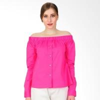 Blouse Off-Shoulder Wanita Charming - Pink