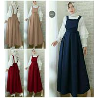 SET HAYANA 2IN1 Baju Wanita Muslim Gamis Overal Jumpsuit Rok