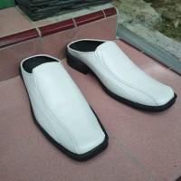 Sepatu Sandal Selop Bustong Putih Pria Ukuran Besar Jumbo Big Size