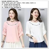 Baju Atasan Boho Bordir Blouse Korea Import AB933519 Pink Putih White