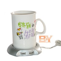 Pemanas Air / USB 2.0 Coffee Cup Warmer Pad with 4 USB Ports Hub
