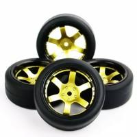F02 RC Flat/slick On Road tires, ban RC velg 1:10 black gold