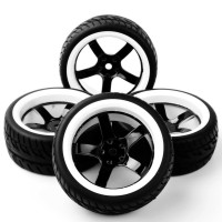 R09 RC On Road tires, ban RC velg 1:10 black white