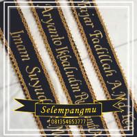 Selempang Wisuda/ Salempang Wisuda Renda Gold/Silver + Bordir Nama