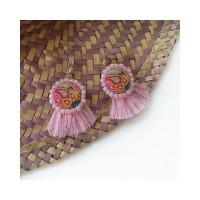 Anting batik tropical pink