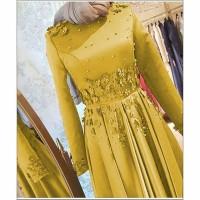 Baju Busana Muslim Dress Pesta Terbaru Gamis Afrah Gold