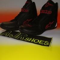 Sepatu drag touring alpinestar terbaru hitam polos bordir merah