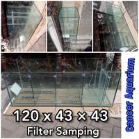 Aquarium Costum 120x43x43 Filter Samping 8MM Dan Sekatan nya