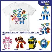 Robocar POLI - Kaos / Baju Anak Gratis cetak nama dan custom raglan