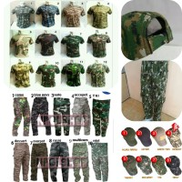 Setelan Camo Army Militer Celana+Kaos pendek+Topi