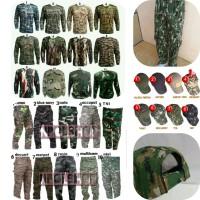Setelan Camo Militer Army Celana+Kaos Panjang+Topi