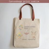 Tas Tangan Kanvas Totebag Natural Vintage Souvenir Asian Games 2018