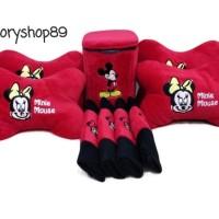 Paket Bantal dan Tempat Sampah Mobil Mickey &Minnie Mouse