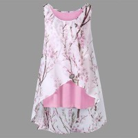 Women Floral Print Summe Tanks Top 2018 Sexy Plus Size Shirt Chinese S