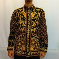 Baju Kemeja Pria Batik Tulis Cabut Motif Sinaran - Kuning