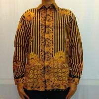 Baju Kemeja Batik Tulis Cabut Lurik Teratai - Kuning
