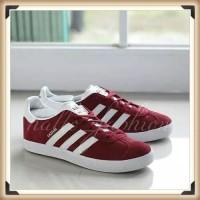 Sepatu Kets Adidas Gazelle Red Maroon White Sneakers Original BNWB