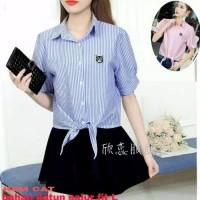 Kemeja ikat hem shirt baju atasan blouse wanita cat kucing remaja